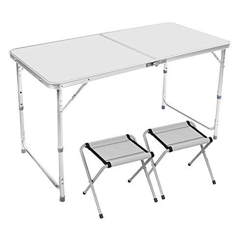 Table pliante Table pliante extérieure en métal et chaises avec guidon et pieds réglables en hauteur pour des pique-niques de camping faciles à transporter et à transporter