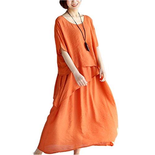 HGDR Retro Frauen Baumwollnähende Unregelmäßige Ränder Loser Runder Kurzer Hals Ärmel Einfacher Einfaches Kleid Lang Maxi Orange