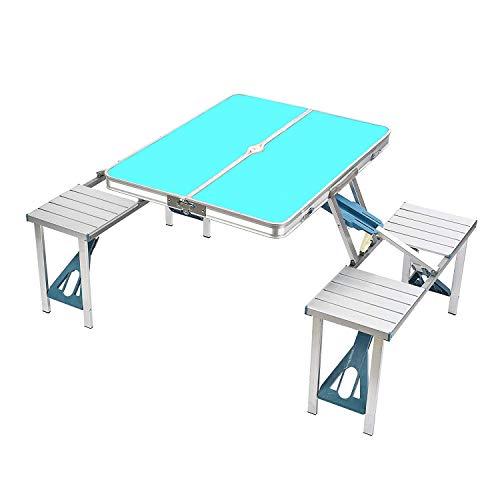ZIHENGUO Table de Pique-Nique et chaises réglées, Tables Pliantes portatives de Camping, Bureau imperméable en Alliage d'aluminium pour la Plage extérieure de Jardin BBQ,Green
