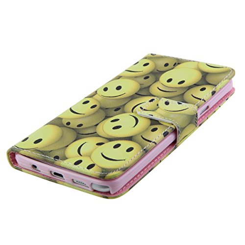 iPhone 4S Wallet Case Cover - Felfy Ultra Slim Cuir Coque Pour Apple iPhone 4/4S Flip Soja jaune Sourire Motif PU Étui Portefeuille Housse Etui Holster + 1x Gold Touch Stylus + 1x Silber