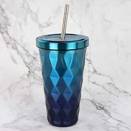 Wasserflasche Diamond Gradient Edelstahl Becher mit Strohhalmen 500ml Trinkbecher Eco-Fr Küche Haushalt Wohnen Geschirr Besteck Gläser