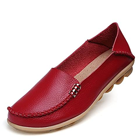Fisca Women's Tanner Pebbled Drivers Leather Casual Loafer Flat Boat Shoes-Red 8