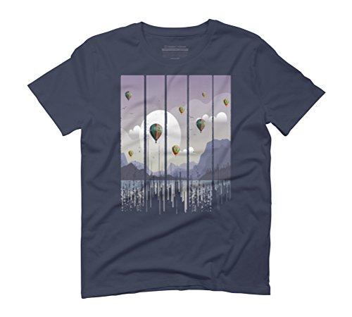 Grunge Dripping Sunset Celebration Men's Graphic T-Shirt - Design By Humans Navy
