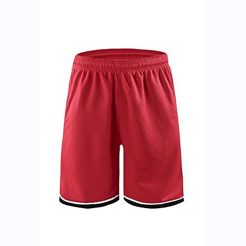 PHUJK- Lose einlagige Shorts für Herren, Basketballhose, Sommer- / Frühlingslauf-Fitnesstraining, Shorts, schnell trocknend, geeignet für Basketball, Volleyball, Baseball, Fußball usw,Red,XL -