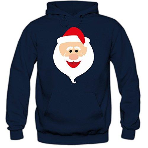Shirt Happenz Christmas Hoodie #8 | Weihnachtsmann | Weihnachten | Santa Claus | Nikolaus | Pullover |Kapuzenpullover |Pulli, Farbe:Dunkelblau (Navy F421);Größe:XL -