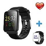 Montre Connectée Bracelet Connecté Cardio Podometre Homme Femme Smartwatch Etanche IP67 Fitness Tracker d'Activité Calorie Sommeil pour iPhone Samsung Huawei Android iOS Smartphone (Q9-B)