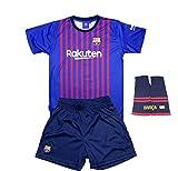Komplette Real Infantil Barcelona FC Replik Offizielle Lizenzierte Zuerst Saison Ausrüstung 2018-19 Rückseite Messi 10 (14 Jahre)