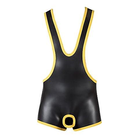 665–Cuir–en néoprène Ouverture entrejambe Wrestling jaune Blue, Grey, Camo Medium