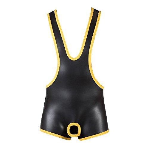 665 Leathers - Neoprene Open Crotch Wrestling Singlet - gelb/schwarz - Größe: Large