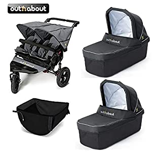 Out 'n' About V4 Nipper Double/2 x Carrycot/Basket - Steel Grey   12