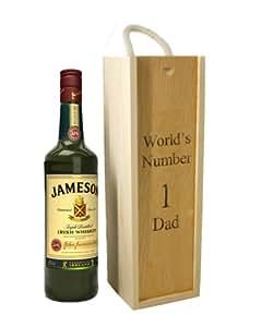 Boîte en bois personnalisé pour simple cadeau vin Whisky Bouteille, gravure Fathers Day