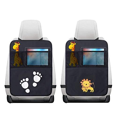 Auto Kick-Pad Rückenlehnenschutz 2 Stück für kinder rücksitz organizer. Ideal für die Speicherung Ihrer Baby-Feuchttücher Windeln Spielzeug Lebensmittel Töpfe und Getränke Multipocket