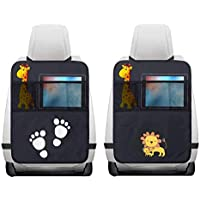 2 Pezzi Protezione Sedile Auto,Impermeabile Sedile Posteriore Auto Organizzatori 2 x Tasca dell' Organizzatore Tasca iPad,Organizer Bambino per Sedile Auto,Protezione Sedile Auto Bambini(Nero)
