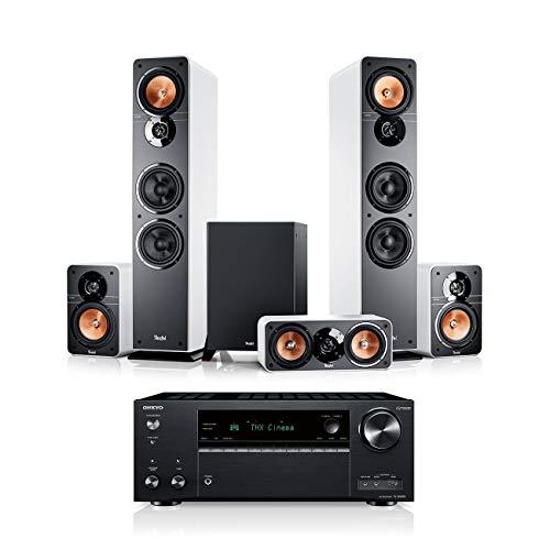 Teufel Ultima 40 Surround AVR 5.1-Set Weiß / Schwarz Heimkino Lautsprecher 5.1 Soundanlage Kino Raumklang Surround Movie High-End HiFi