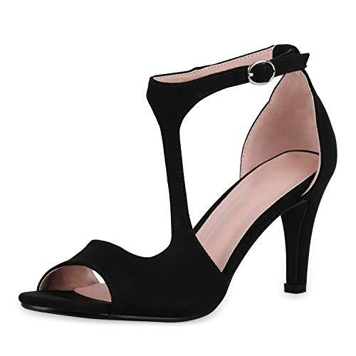 SCARPE VITA Damen Riemchensandaletten Party Sandaletten Stiletto High Heels Schuhe Wildleder-Optik Absatzschuhe 183577 Schwarz 37 Stiletto High Heel Strappy Sandal