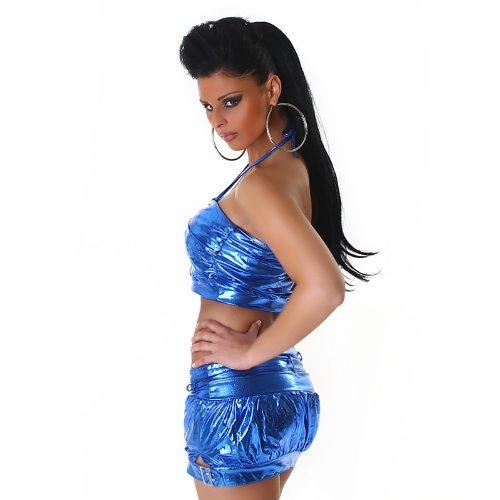 Bandeau Neckholder Top Shirt Lederoptik Wet-Look Onesize trendiges Design Blau