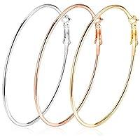 3 Pairs Big Hoop Earrings,Stainless Steel Hoop Earrings in Gold Plated Rose Gold Plated Silver Hoops for Women Girls (3 Colors Set) 60mm (60)