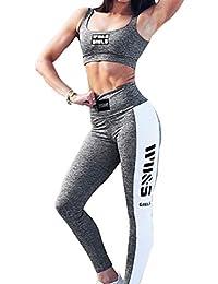 Mujer 2 Piezas Chándal, Sin Manga Blusa Crop Top y Pantalones Moda Casual Running Jogging Yoga Gymnastics Fitness Conjuntos Deportivos S M L