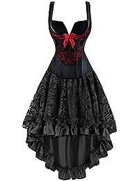 Rot schwarzes gothic kleid