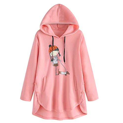 TEFIIR Damen Kapuzenpullover Asymmetrische Hem Sweater Drucken Pullover mit Lanyard Tasche Simple Style Hoodies Casual Langarm-Sweatshirt Lose Tops