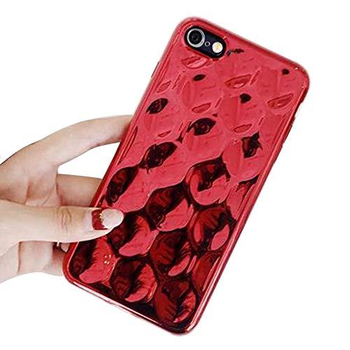 MoreChioce kompatibel mit iPhone 6S Plus Hülle,kompatibel mit iPhone 6 Plus Hülle Glitzer, Kreativ 3D Rot Bling Strass Silikon Handyhülle Glitzern Sparkle TPU Case Defender Bumper,EINWEG (Kreative Cases Für Iphone 6 Plus)
