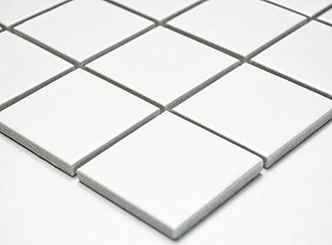 Mosaïque réseau de mosaïque Carrée pour carrelage Uni Blanc mat Céramique pour carrelage sol douche murale miroir carrelage