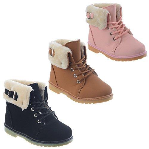 NEUF filles nourrissons enfants semelle anti-dérapante chaude col fourrure doublé Hiver Neige Cheville Bottes chaussures taille