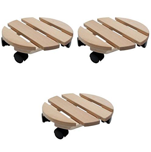 Mediablue Pflanzenroller Holz MASSIV rund 35 cm bis 120 KG Erle Rollbrett mit 4 Lenk Rollen - Superstabil (3)