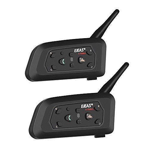 Docooler [ 2 Stück V6 Pro Motorradhelm Headset Intercom BT Sprechanlage für 6 Fahrer -