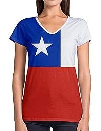 Idakoos Chile 3D - Camiseta con Cuello En V De Mujer Novedad De Poliéster