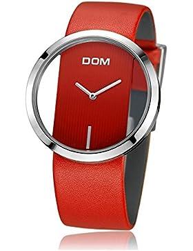 Sheli Frauen Mode Beiläufige Quarz-einzigartige Stilvolle Hohle Skeleton Uhren Rote Leder-Damearmbanduhren