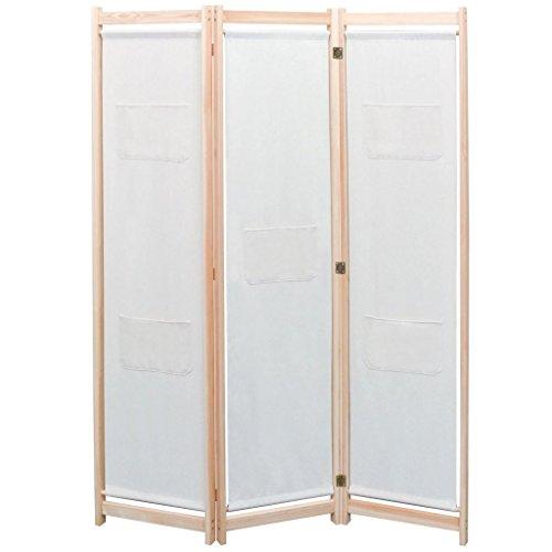 Festnight Biombo de 3 Paneles Madera de Pino 120x170 cm