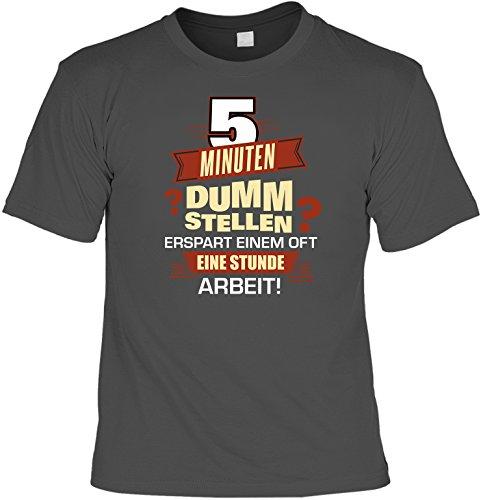 T-Shirt mit Mini Shirt: 5 Minuten dumm stellen erspart einem oft eine Stunde Arbeit! Farbe: anthrazit Anthrazit