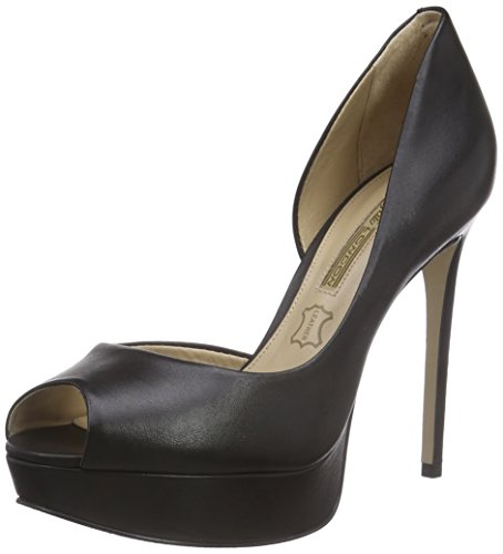 Buffalo London ZS 4976-15 SEMI CROMO, Damen Peep-Toe Pumps, Schwarz (BLACK 01), 39 EU