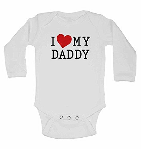 """Langarm-Babybody mit englischem Aufdruck: """"I love my daddy"""", Babybody für Jungen und Mädchen, Farbe: Weiß weiß weiß 3-6 Monate"""
