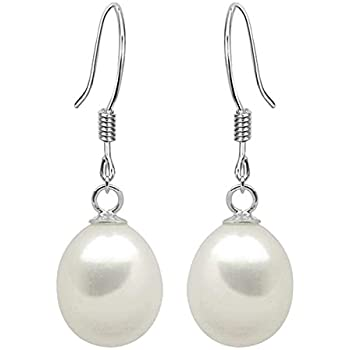 d2d1d2156 925 Sterling Silver Ladies Drop Dangle Earrings With Freshwater Cultured  Pearls For Bridal Wedding Prom Casual Formal Occasions - Cream