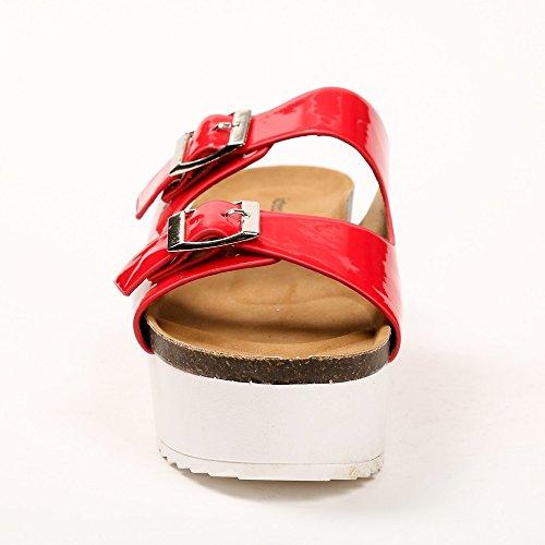 Ideal Shoes - Nu-pieds avec semelle en gomme Anahi Rouge