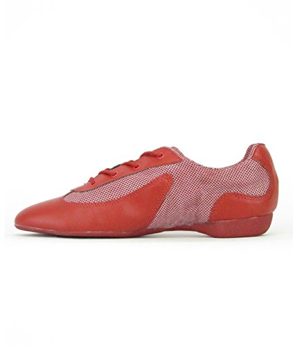 So Danca DK30 Dancesneaker Tanzsneaker Tanzschuhe durchgehende Sohle Hip Lindy Hop Gymnastik Sport Fitness Trainings Hallen Aerobic Yoga Shuffle Dance Schuhe Red/Red