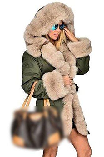 Les Femmes L'hiver Chaud Devant Un Manteau De Fourrure À Ouvrir La Plaine Parkas Vêtements green