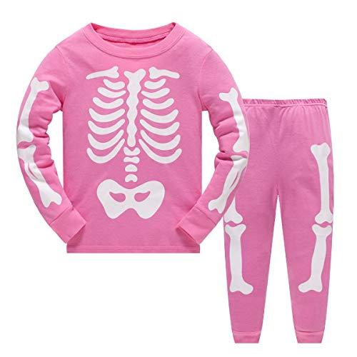 Halloween Kostüme Kinder Mädchen Pyjama Set Nachtwäsche Langarm Baumwolle Kleinkind Kleidung Outfit Zweiteiler im Alter von 7 Jahren (Glow in The Dark Skelett Knochen)