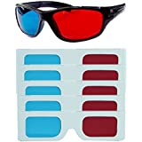 Hrinkar Original Anaglyph 3D Glasses Red and Cyan 1 Plastic + 5 Paper Offer - 3D Glass for Mobile Phone, Computer, Laptop, TV, Projector and Magazines