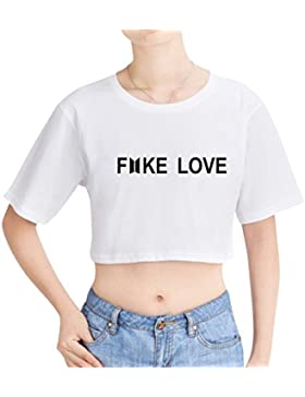 SIMYJOY Mujere BTS Camiseta Fake Love T-Shirt 2018 New Album tee Love Yourself Tear Crop Top Niña KPOP Top