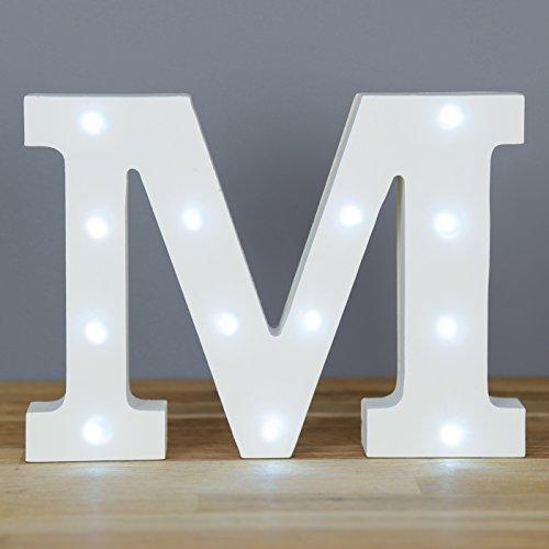 Smiling Faces - Letra M con luces led, letras del alfabeto decorativas, de madera, color blanco