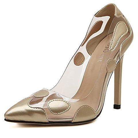 Femmes Talons hauts Lutte Couleur Transparente Bouche superficielle Chaussures de mariage de danse élégantes et confortables , gold ,