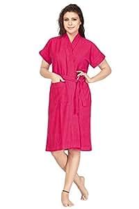 Be You Fashion Terry Cotton Rani Color Plain Solid Bathrobe for Women