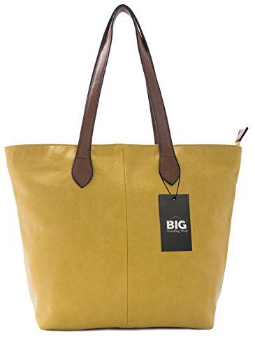 BHBS Damen Promi Einfache weiche und leichte Schulter Handtasche 38 x 28 cm (B x H) Gelb