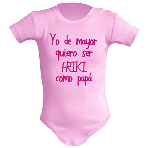Body bebé unisex Friki como papá. Regalo original. Body bebé divertido. (3 meses, rosa)