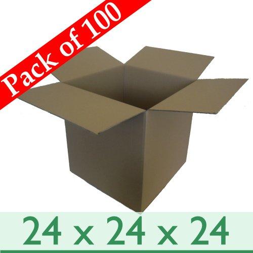 Lot de 100 grandes boîtes pour envoi Postal de déménagement en carton à Double cannelure - 24 x 24 cm x 610 mm x 610 mm x 610 mm