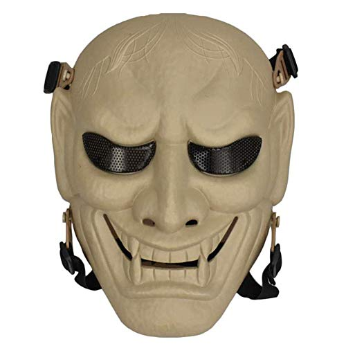 Halloween Party Mask, Airsoft Full Face Maschera Protettiva con E Senza Foulard Tattico di Scheletro Maschere Ingranaggi per T Paintball Outdoor CS Gioco di Guerra BB Gun Fantasma,Tan