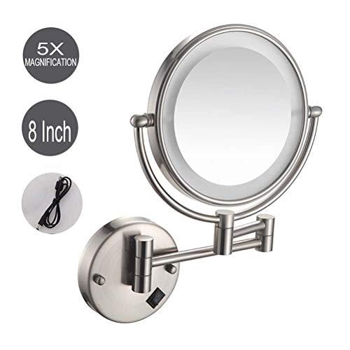 ZHAONI LED Espejos De 5X Aumento para Bano Espejos Maquillaje Pared, Doble Cara Giratoria De 360 °...